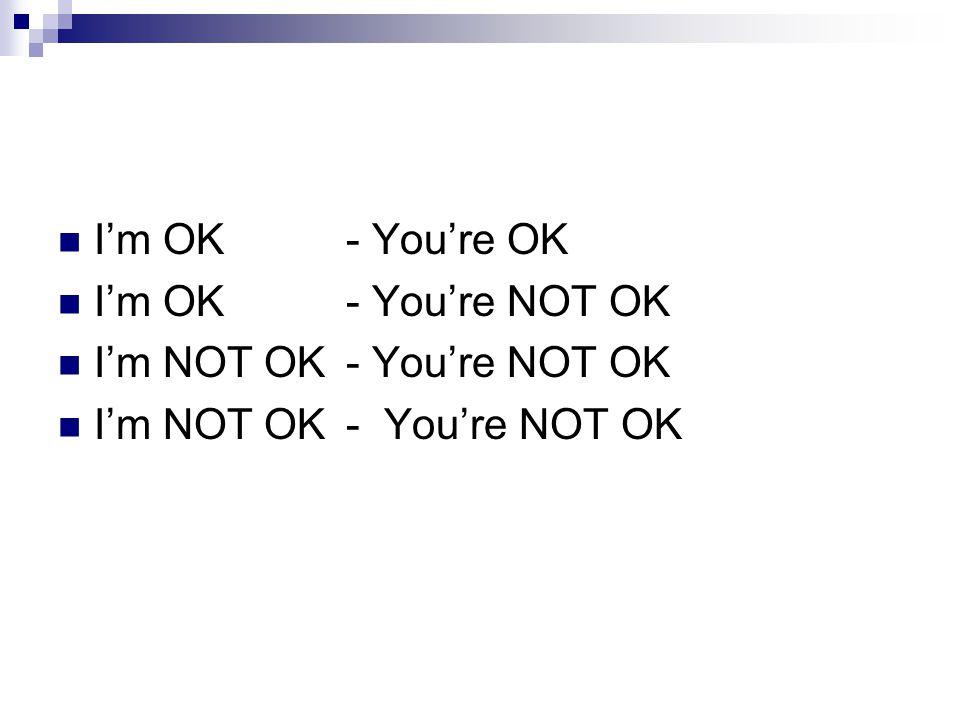 I'm OK - You're OK I'm OK - You're NOT OK I'm NOT OK - You're NOT OK I'm NOT OK - You're NOT OK