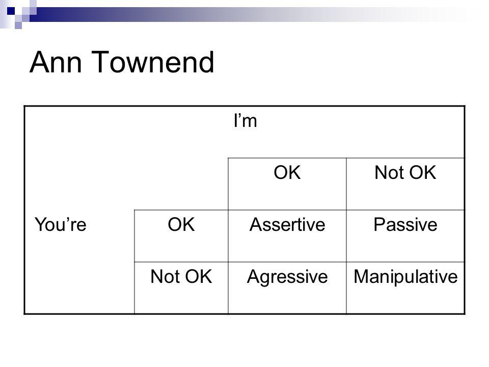 Ann Townend I'm OK Not OK You're Assertive Passive Agressive