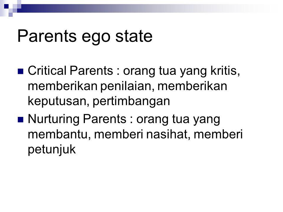Parents ego state Critical Parents : orang tua yang kritis, memberikan penilaian, memberikan keputusan, pertimbangan.