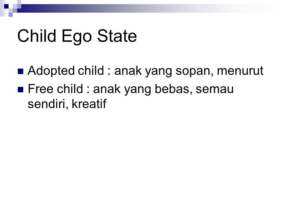 Child Ego State Adopted child : anak yang sopan, menurut