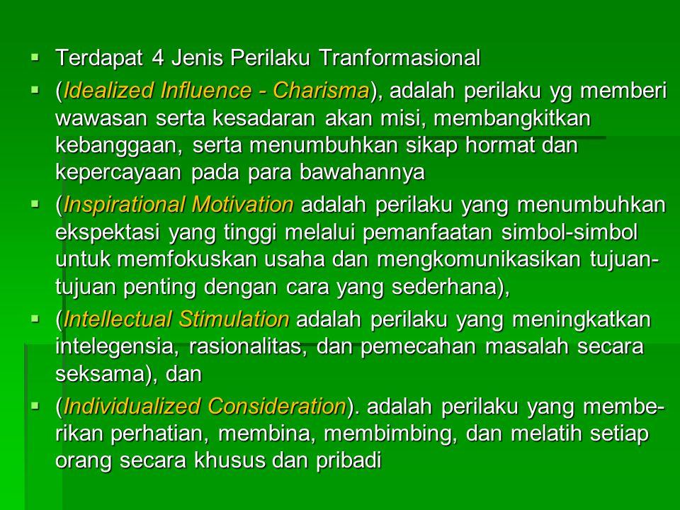 Terdapat 4 Jenis Perilaku Tranformasional