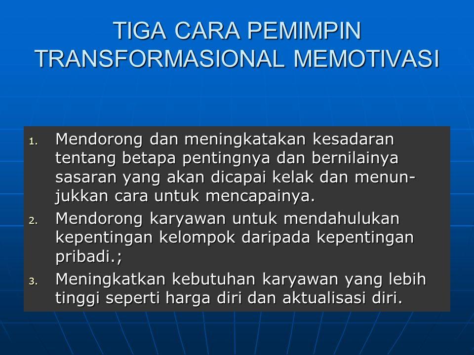 TIGA CARA PEMIMPIN TRANSFORMASIONAL MEMOTIVASI
