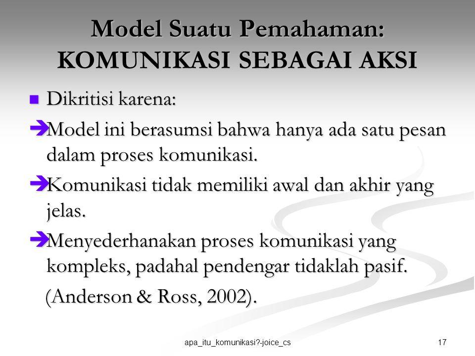 Model Suatu Pemahaman: KOMUNIKASI SEBAGAI AKSI