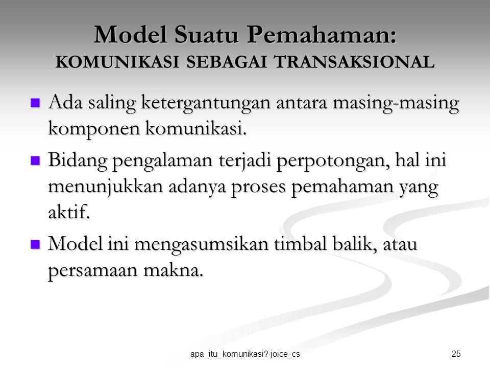 Model Suatu Pemahaman: KOMUNIKASI SEBAGAI TRANSAKSIONAL