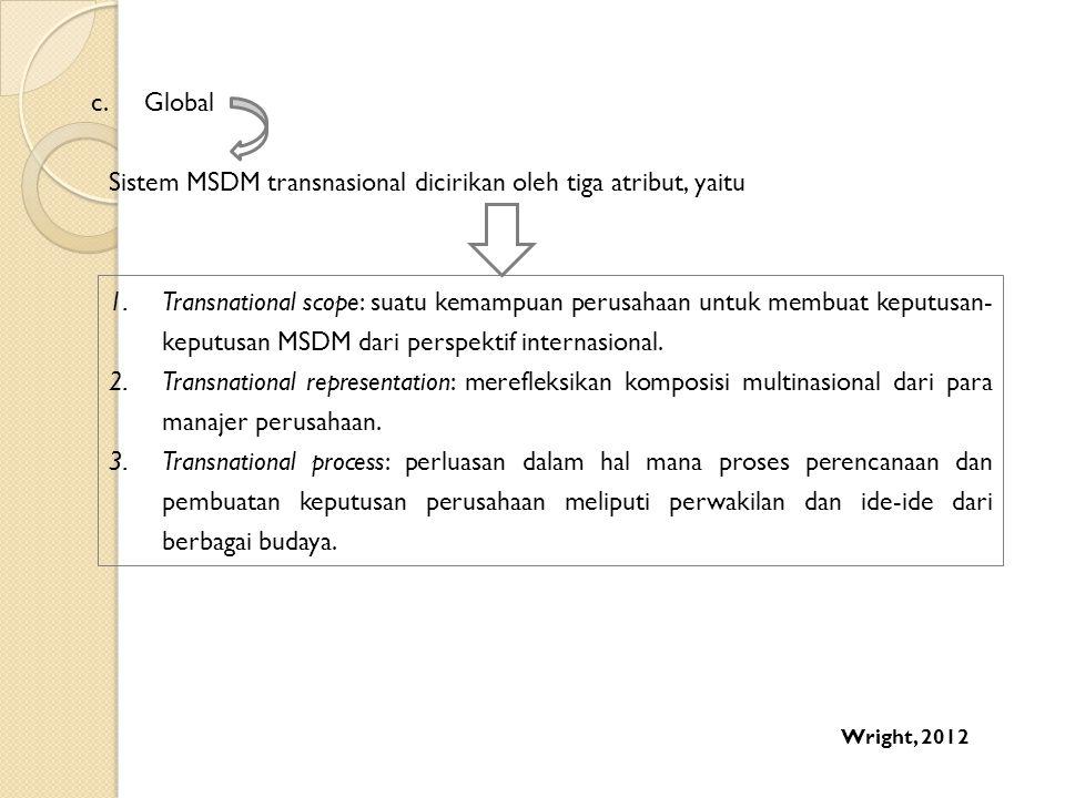 Sistem MSDM transnasional dicirikan oleh tiga atribut, yaitu