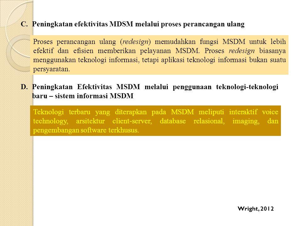 Peningkatan efektivitas MDSM melalui proses perancangan ulang