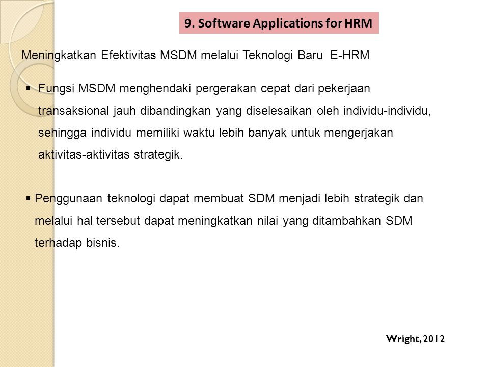 9. Software Applications for HRM