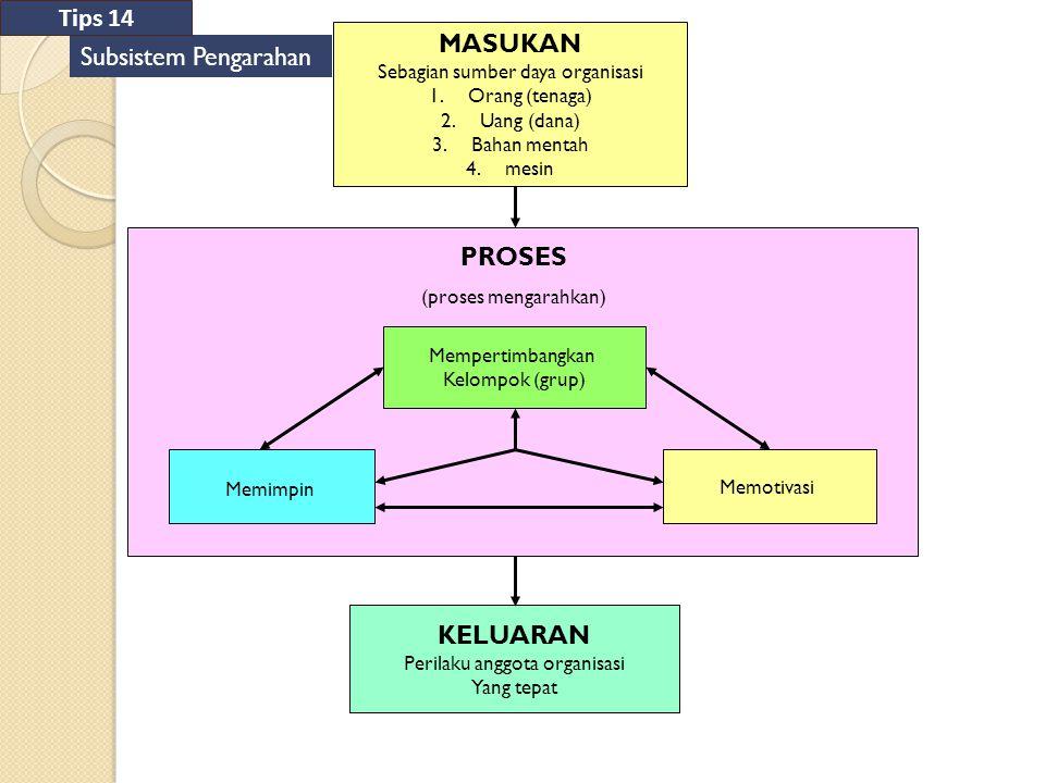 Tips 14 MASUKAN Subsistem Pengarahan PROSES KELUARAN