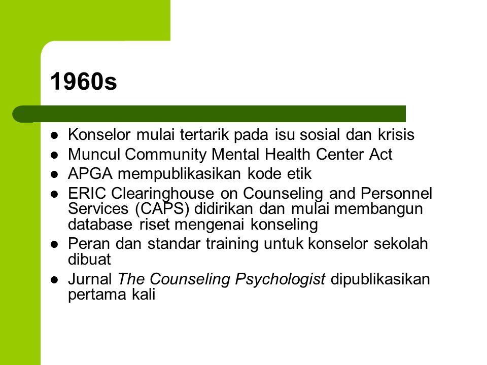 1960s Konselor mulai tertarik pada isu sosial dan krisis