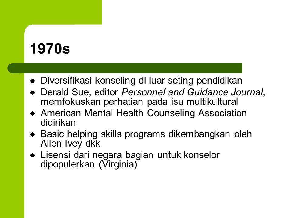 1970s Diversifikasi konseling di luar seting pendidikan