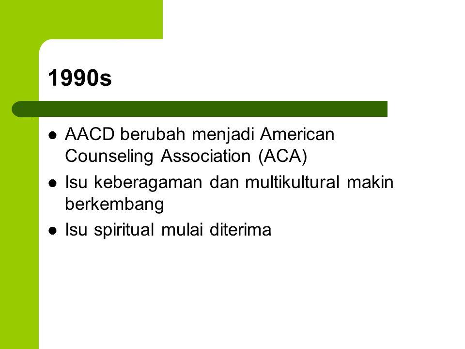 1990s AACD berubah menjadi American Counseling Association (ACA)