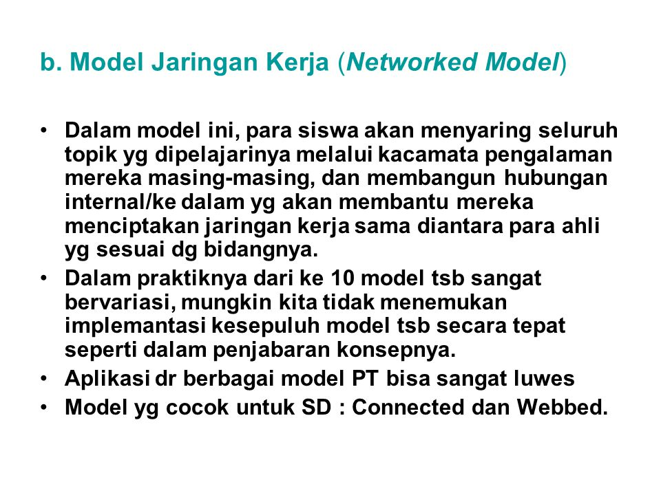 b. Model Jaringan Kerja (Networked Model)