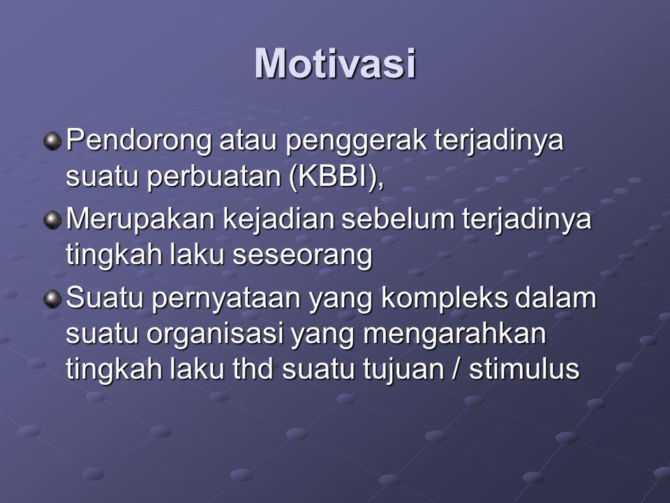 Motivasi Pendorong atau penggerak terjadinya suatu perbuatan (KBBI),