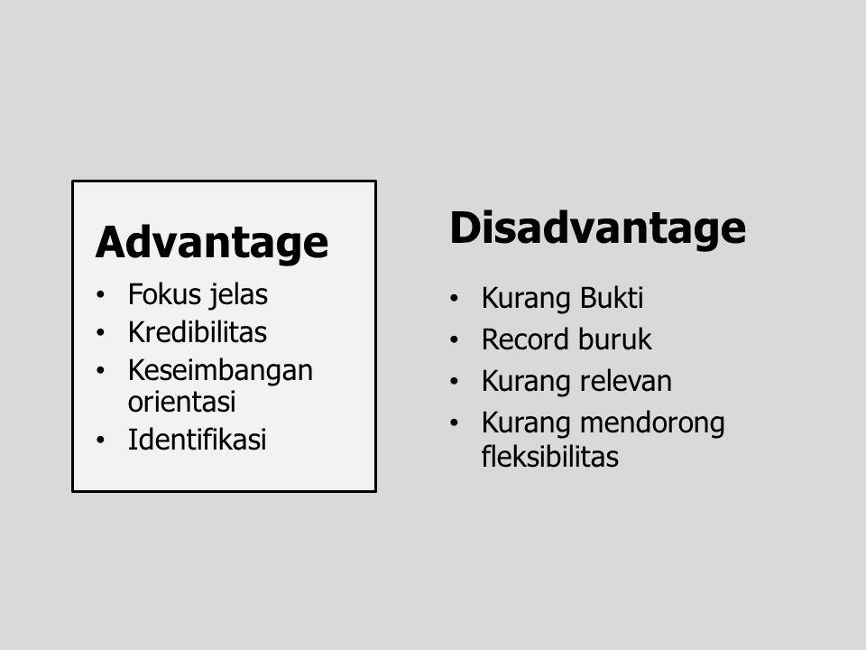 Disadvantage Advantage Fokus jelas Kredibilitas Keseimbangan orientasi