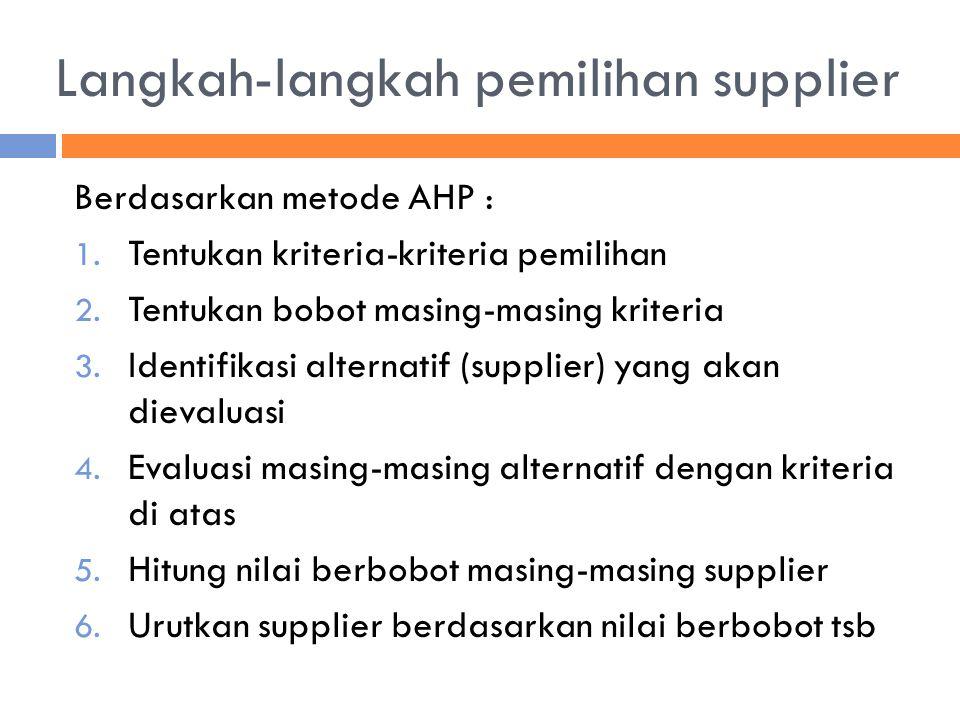 Langkah-langkah pemilihan supplier
