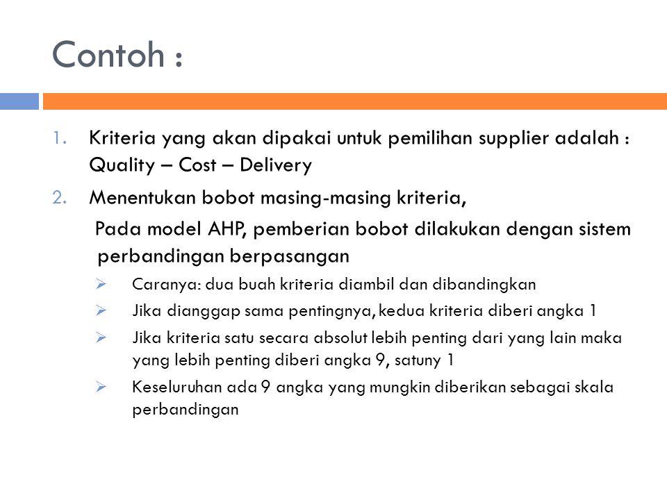 Contoh : Kriteria yang akan dipakai untuk pemilihan supplier adalah : Quality – Cost – Delivery. Menentukan bobot masing-masing kriteria,
