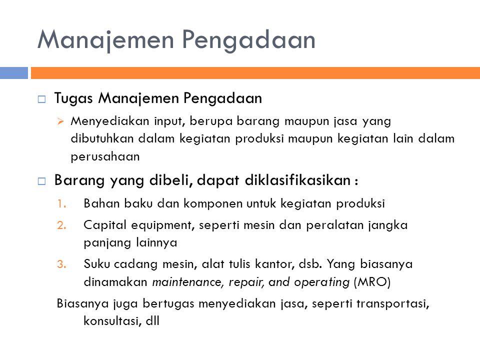 Manajemen Pengadaan Tugas Manajemen Pengadaan