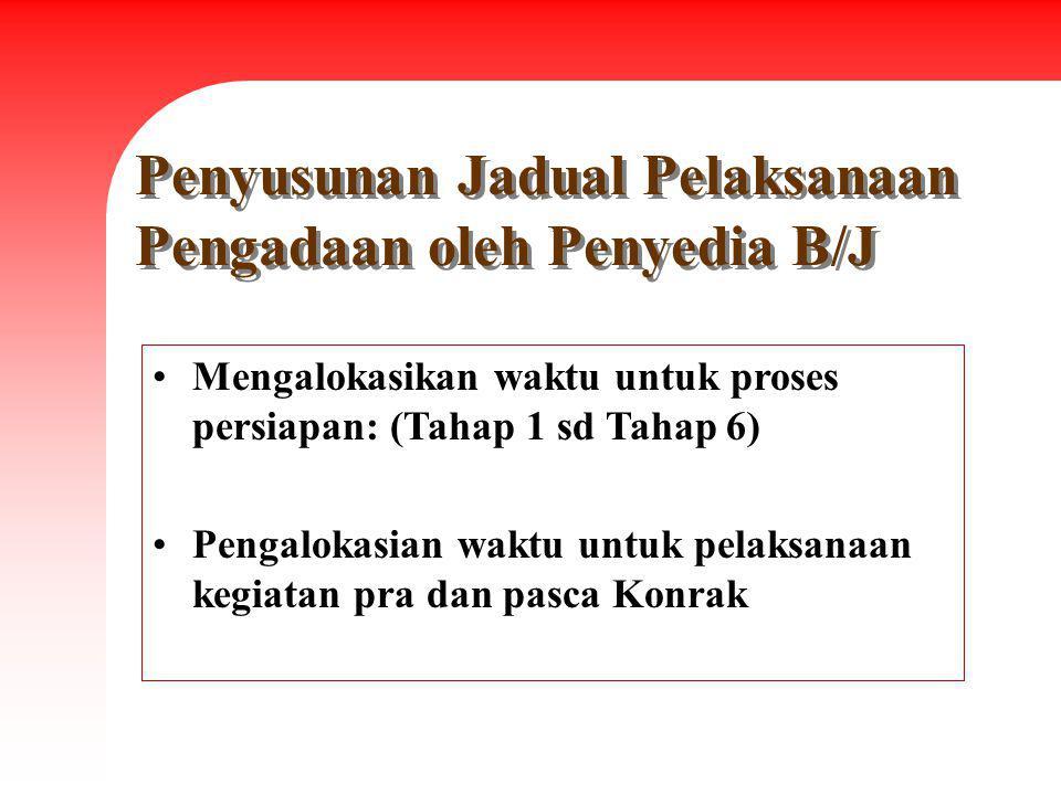 Penyusunan Jadual Pelaksanaan Pengadaan oleh Penyedia B/J