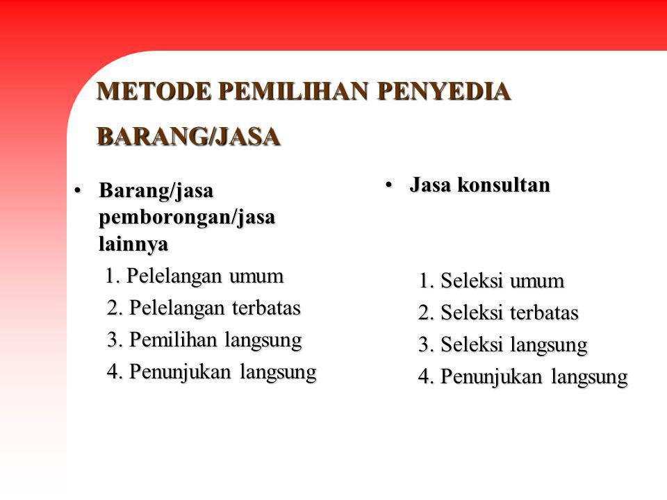 METODE PEMILIHAN PENYEDIA BARANG/JASA