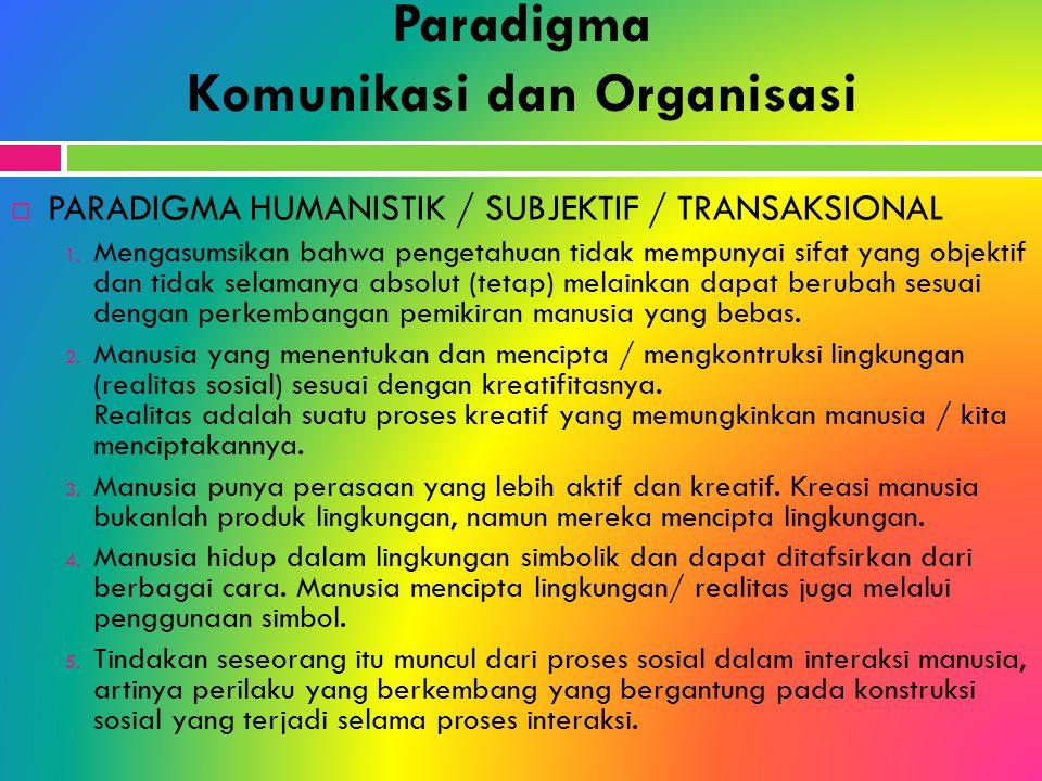 Paradigma Komunikasi dan Organisasi