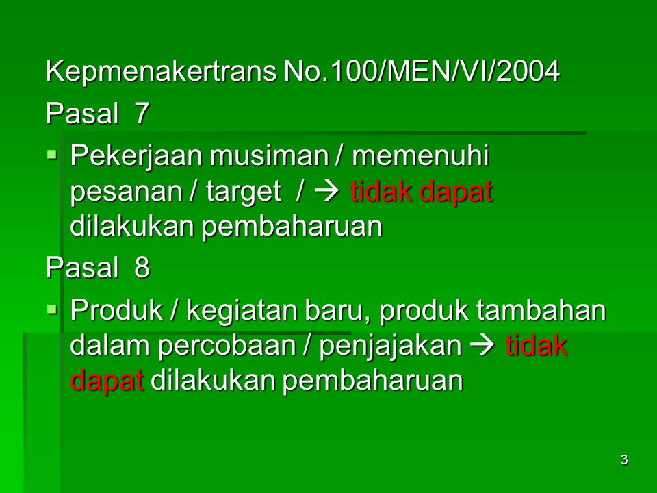 Kepmenakertrans No.100/MEN/VI/2004
