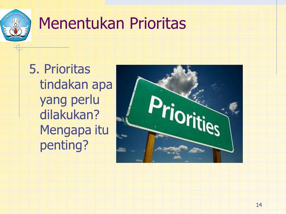 Menentukan Prioritas 5. Prioritas tindakan apa yang perlu dilakukan Mengapa itu penting