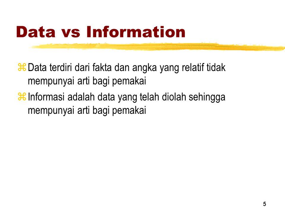 Data vs Information Data terdiri dari fakta dan angka yang relatif tidak mempunyai arti bagi pemakai.