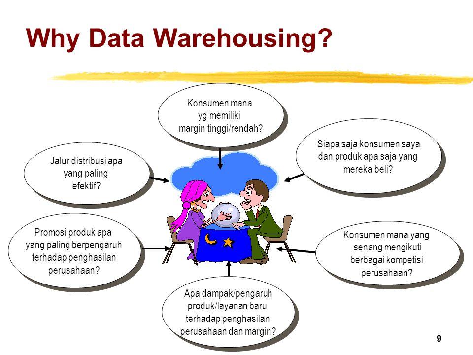 Why Data Warehousing Konsumen mana yg memiliki margin tinggi/rendah