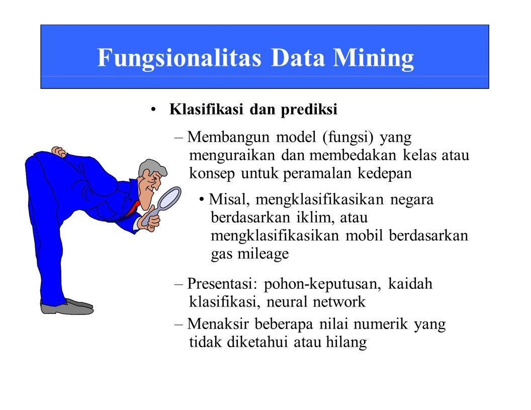 Fungsionalitas Data Mining • Klasifikasi dan prediksi