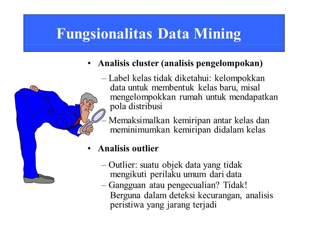 Fungsionalitas Data Mining • Analisis cluster (analisis pengelompokan)