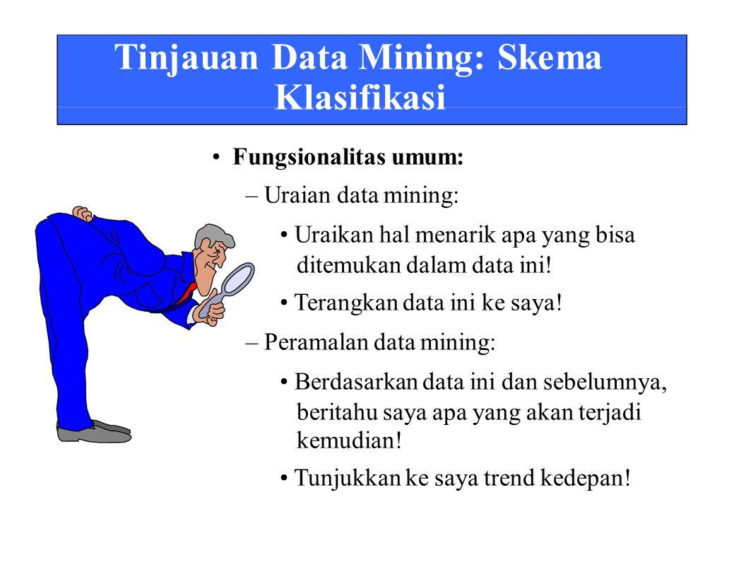 Tinjauan Data Mining: Skema Klasifikasi • Fungsionalitas umum: