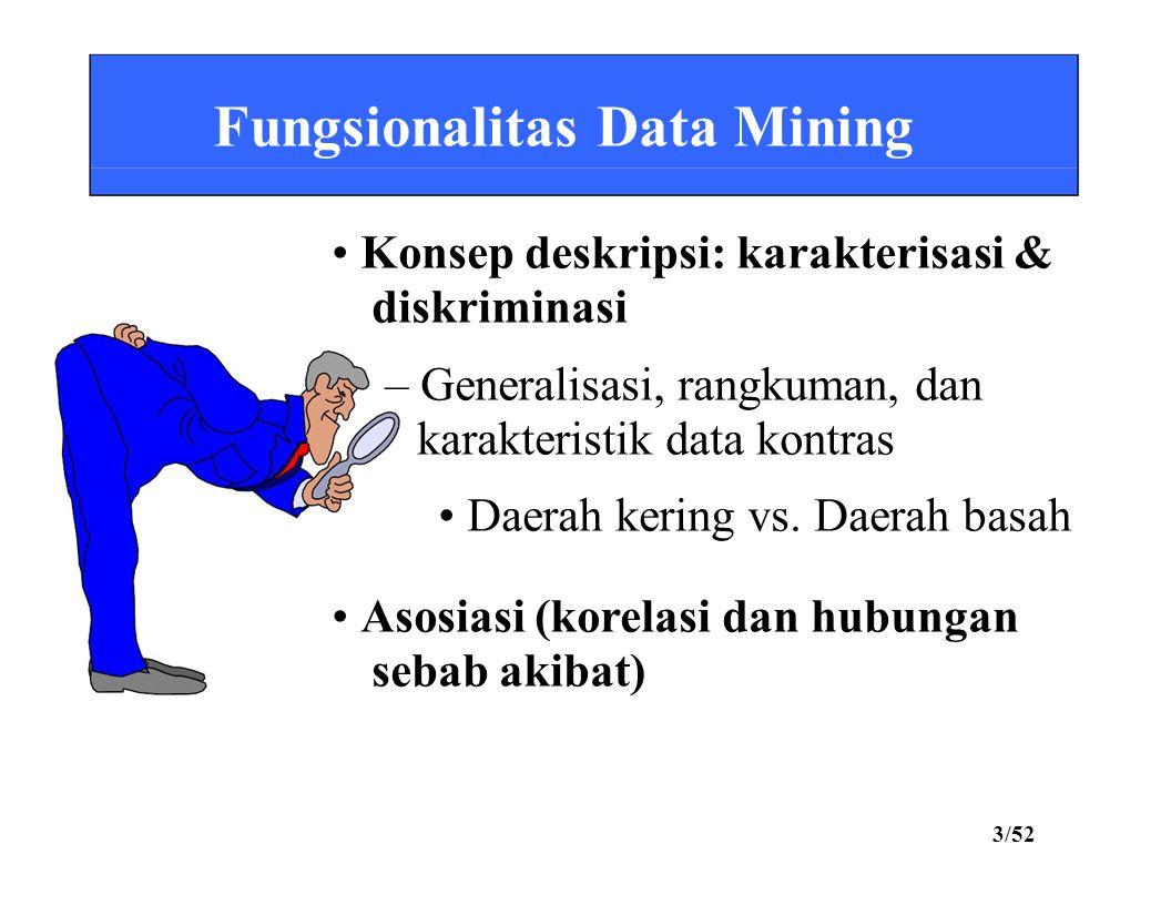 Fungsionalitas Data Mining • Konsep deskripsi: karakterisasi &