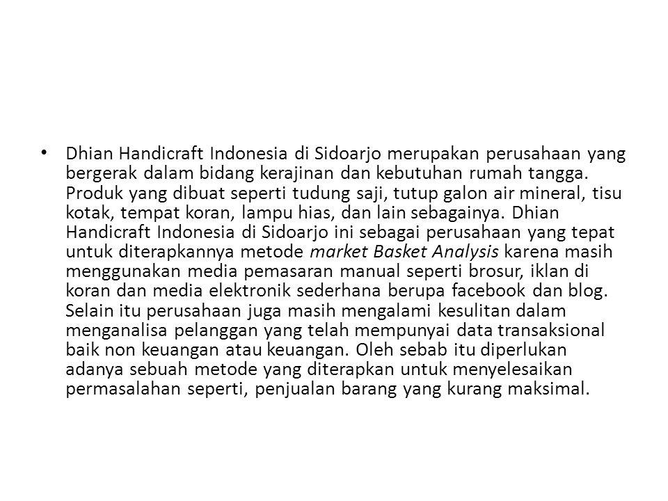 Dhian Handicraft Indonesia di Sidoarjo merupakan perusahaan yang bergerak dalam bidang kerajinan dan kebutuhan rumah tangga.