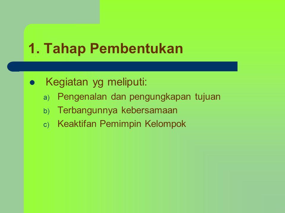 1. Tahap Pembentukan Kegiatan yg meliputi: