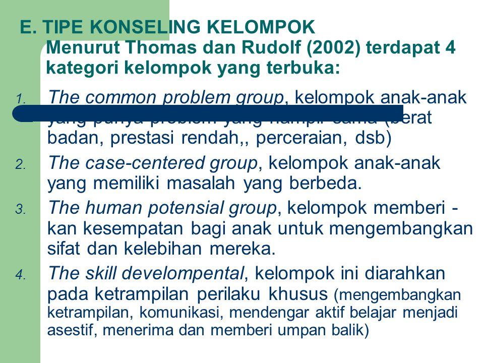 E. TIPE KONSELING KELOMPOK Menurut Thomas dan Rudolf (2002) terdapat 4 kategori kelompok yang terbuka: