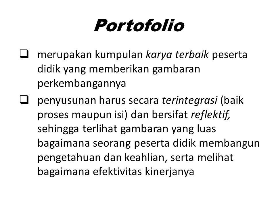 Portofolio merupakan kumpulan karya terbaik peserta didik yang memberikan gambaran perkembangannya.