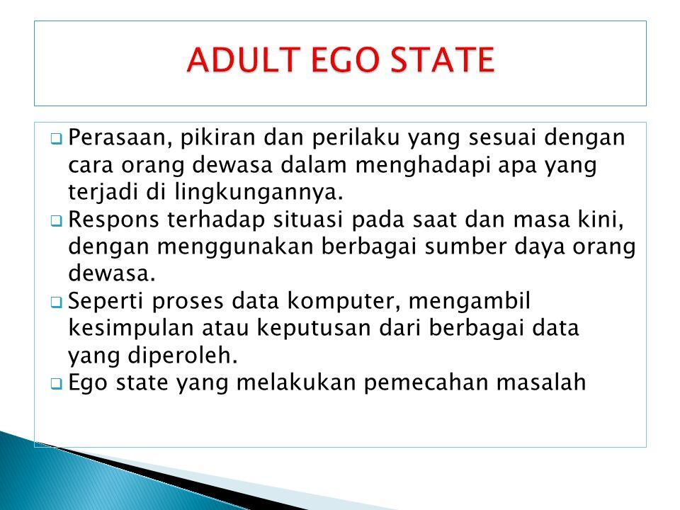 ADULT EGO STATE Perasaan, pikiran dan perilaku yang sesuai dengan cara orang dewasa dalam menghadapi apa yang terjadi di lingkungannya.