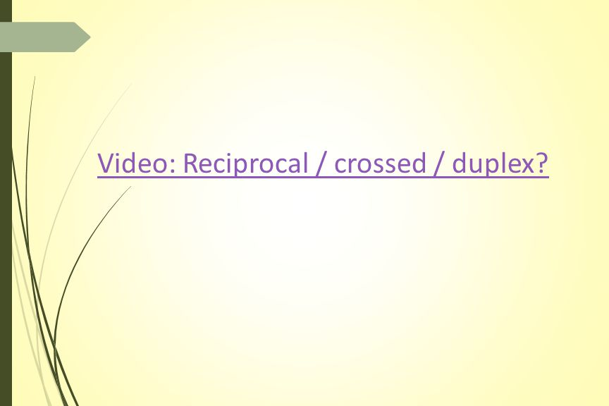 Video: Reciprocal / crossed / duplex
