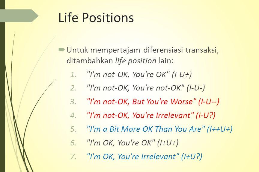Life Positions Untuk mempertajam diferensiasi transaksi, ditambahkan life position lain: I m not-OK, You re OK (I-U+)
