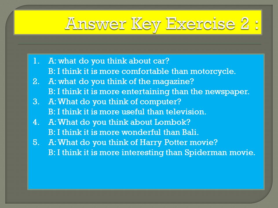 Answer Key Exercise 2 :