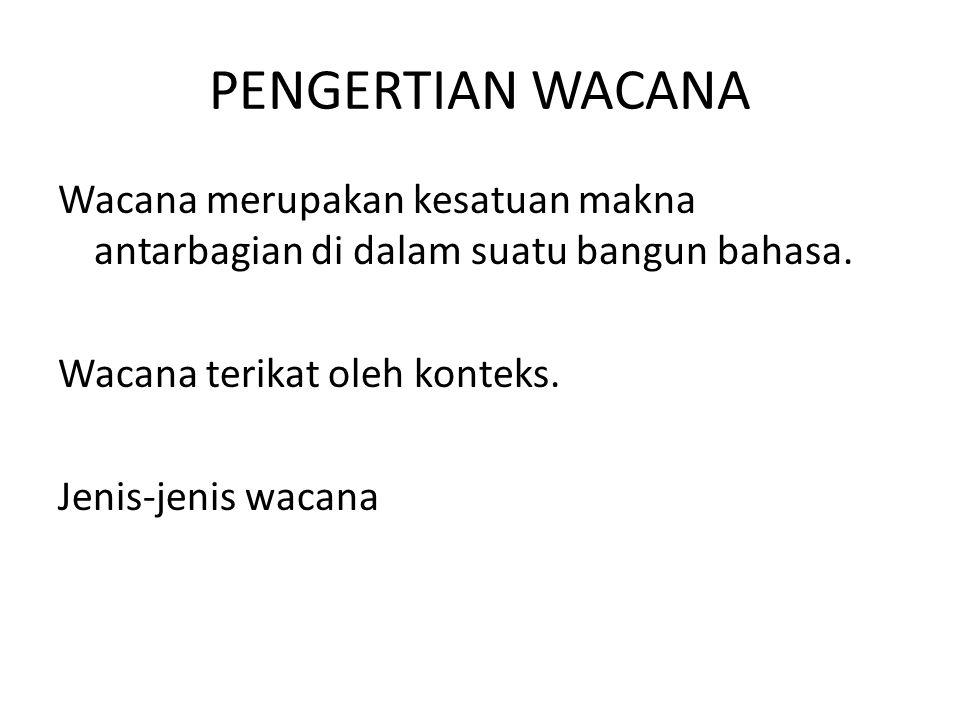 PENGERTIAN WACANA Wacana merupakan kesatuan makna antarbagian di dalam suatu bangun bahasa.