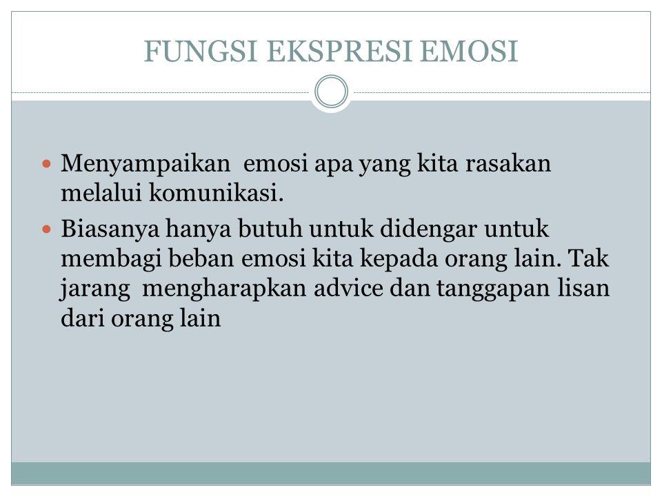 FUNGSI EKSPRESI EMOSI Menyampaikan emosi apa yang kita rasakan melalui komunikasi.