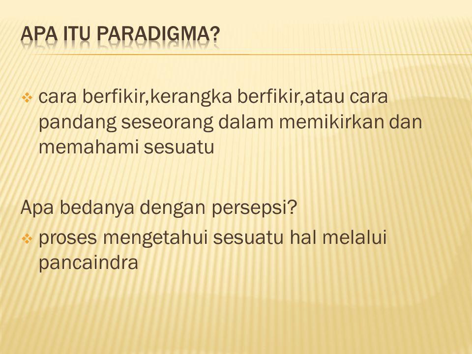 Apa itu paradigma cara berfikir,kerangka berfikir,atau cara pandang seseorang dalam memikirkan dan memahami sesuatu.
