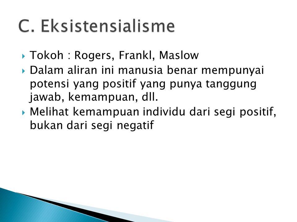 C. Eksistensialisme Tokoh : Rogers, Frankl, Maslow
