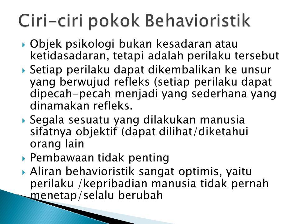 Ciri-ciri pokok Behavioristik