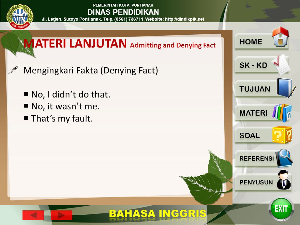 MATERI LANJUTAN Admitting and Denying Fact