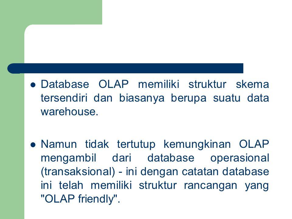 Database OLAP memiliki struktur skema tersendiri dan biasanya berupa suatu data warehouse.