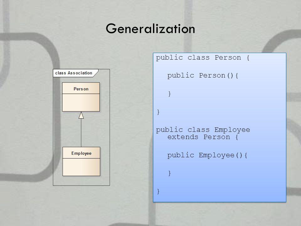 Generalization public class Person { public Person(){ } public class Employee extends Person { public Employee(){