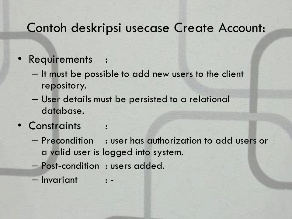 Contoh deskripsi usecase Create Account: