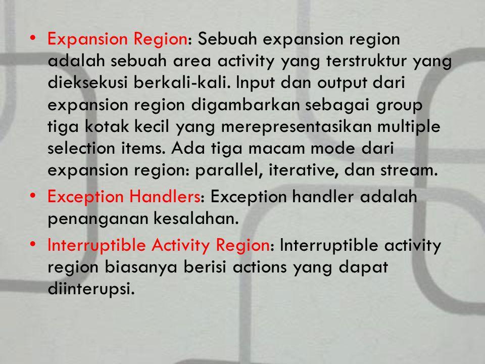 Expansion Region: Sebuah expansion region adalah sebuah area activity yang terstruktur yang dieksekusi berkali-kali. Input dan output dari expansion region digambarkan sebagai group tiga kotak kecil yang merepresentasikan multiple selection items. Ada tiga macam mode dari expansion region: parallel, iterative, dan stream.